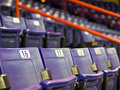 Seats at an indoor sports arena blue folding Stock Photography