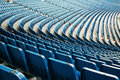Seats in stadium empty blue at football Stock Images
