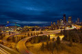 Seattle City Skyline at Blue Hour Royalty Free Stock Photography