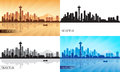 Seattle city skyline silhouettes set Royalty Free Stock Photos