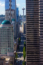 Seattle city skyscrapers with reflections on a sunny day. Royalty Free Stock Photo