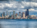 Seattle cityscape intense hdr image of with the puget sound and skyscrapers Stock Photos