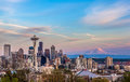 Seattle downtown skyline and Mt. Rainier at sunset. WA Royalty Free Stock Photo