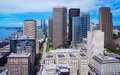 Seattle Downtown from Smith Tower. Bright light on a sunny day Royalty Free Stock Photo