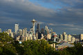 Seattle downtown with space needle in the evening Royalty Free Stock Photo
