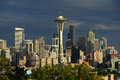 Seattle downtown with space needle in the evening Royalty Free Stock Images