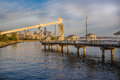 Seattle fishing pier at sunset empty as sun is setting Royalty Free Stock Photos