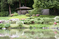 Seattle japanese garden beautiful flowers pavilion and pond in Stock Image