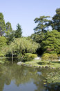 Seattle japanese garden beautiful pond and trees in Royalty Free Stock Photography