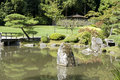 Seattle japanese garden beautiful reflections and rocks in Royalty Free Stock Photos