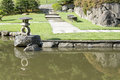 Seattle japanese garden pond lantern and path in Stock Photography