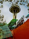 Space Needle Framed By Modern Architecture MoPOP