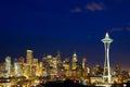 Seattle skyline at dusk Royalty Free Stock Photo