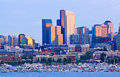 Seattle skyline on Lake Union during sunset Royalty Free Stock Images