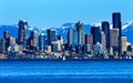 Seattle skyline puget sound cascade mountains washington state sailboat pacific northwest Stock Image