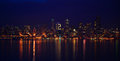 Seattle skyline for seahawks long exposure of cityscape th man Stock Images