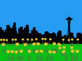 Seattle skyline in springtime Stock Photo