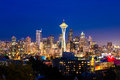Seattle skyline washington at night Stock Photography