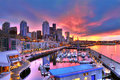 Seattle skyline and waterfront in sunrise Royalty Free Stock Photo