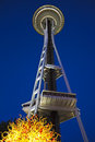 Seattle space needle with chihuly glass above sculpture Stock Image