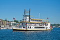 Seattle wa – august steam powered paddle boat named queen of seattle offers tours of lake union while teaching history of Stock Photos