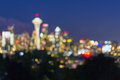 Seattle Washington City Skyline at Dusk Out of Focus Bokeh Royalty Free Stock Photo