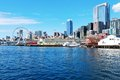 Seattle waterfront pier downtown view ferry puget sound Stock Photo