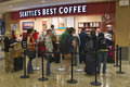 Seattles best coffee airport the seattle s shop with a long line of customers at the seattle tacoma international Stock Photos