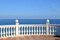 Seaview panorama from terrace with blue sky Stock Image