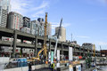 Seawall construction project seattle along the viaduct Royalty Free Stock Photography