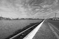 Seawall in louisiana a south on bayou lafourche black and white Royalty Free Stock Photo