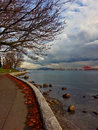 Seawall stanley park docks late in the afternoon view on fall Royalty Free Stock Photography