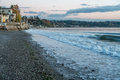 Seawall at three tree point a is oncovered low tide in burien washington Royalty Free Stock Photo
