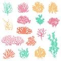 Seaweed and coral silhouettes. Ocean reef corals, underwater marine plants and aquariums kelp. Deep water seaweed Royalty Free Stock Photo