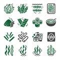 Seaweed icon set Royalty Free Stock Photo