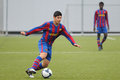 Sebastian de jesus leguizamon plays with f c barcelona youth team against gimnastic de tarragona at ciutat esportiva joan gamper Royalty Free Stock Photography