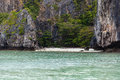 Secluded cove a beautiful an in the exotic phi phi tropical island thailand Royalty Free Stock Photo