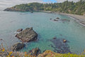Secluded cove in northern ca view of beautiful near trinidad california with sandy shores rock outcrops and kelp Royalty Free Stock Photo