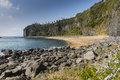 Secluded and desolated beach jungmun at jeju island Royalty Free Stock Image