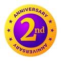 Second Anniversary badge, gold celebration label,