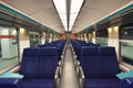 Second class wagon interior in belgium intercity train Royalty Free Stock Photography