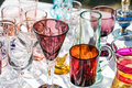 Second hand beautiful glasses in different shapes and colors Royalty Free Stock Photo