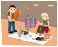 Second hand goods hawker in hong kong vector illustration of a Royalty Free Stock Photography