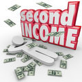 Second income money falling side job work earn more cash words and around a person to illustrate a secondary or to revenue or Stock Image