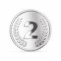 Second place medal render silver d with clipping path Royalty Free Stock Images