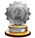 Second place silver award number two clipping mask d render of trophy Royalty Free Stock Photography