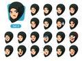 The second set of muslim woman in black hijab cartoon avatars