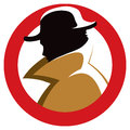 Secret agent spy a silhouette of a with hat and trench coat Royalty Free Stock Images