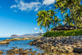 Secret beach a view of the leeward coast and the waianae mountain range from a at ko olina resort on west oahu hawaii Royalty Free Stock Photos