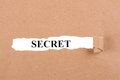 Secret concept word appearing behind torn brown paper Stock Photography